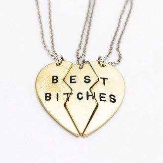 jewels best bitches necklace bff cheerleading pretty jewelery girly heart gold friendship friendship necklace three best bithes collier indie silver necklace three piece silver pendant pendant three best friends necklaces & pendants best friend necklace hair accessory brauty best bitches necklace heart jewelry love partners twin twinning best friends necklace gold necklace gol necklace cute