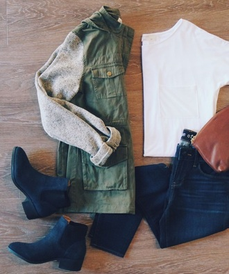 jacket green long sleeves grey zip pockets zip-up sweater buttons fall outfits fall sweater