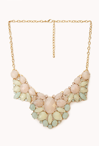 Sweet Faux Gemstone Bib Necklace | FOREVER21 - 1040495262