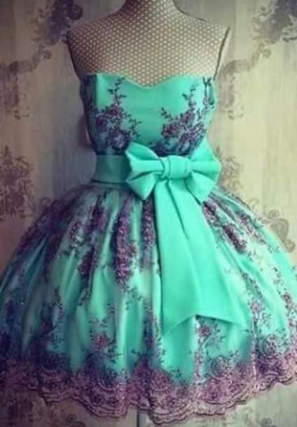 dress azul blue dress pretty dress! cute dress style fashion little black dress patterned dress turquoise dress party dress homecoming dress turquoise bow dress