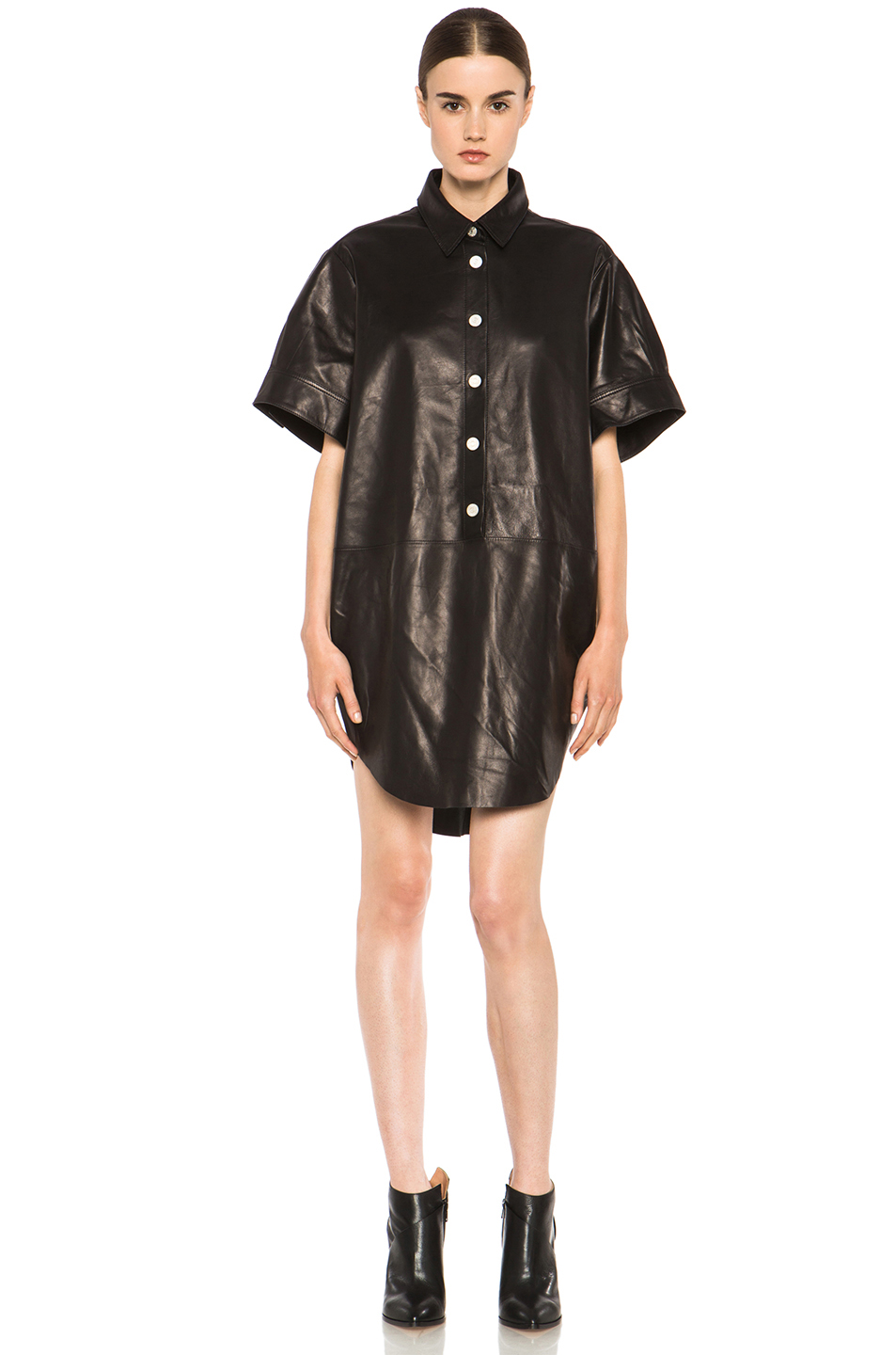 Acne Studios|Marla Leather Dress in Black Noir