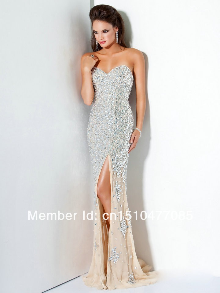 Luxury Heavy Beaded Sweetheart Slit Champagne Mermaid Prom Dress Evening Party Gowns 2014 New Arrival-in Prom Dresses from Apparel & Accessories on Aliexpress.com