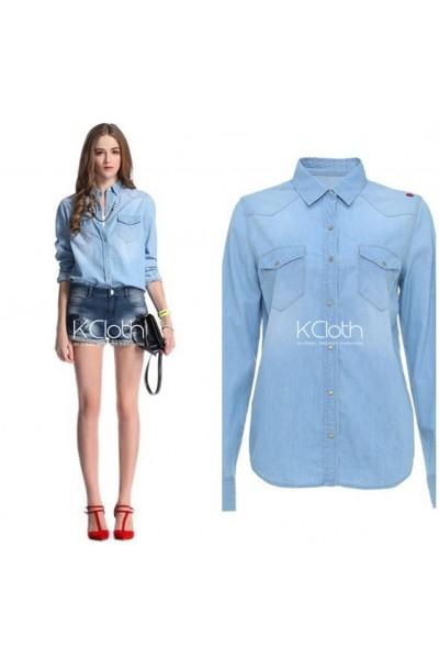 KCLOTH Classis Denim Shirt with Pockets T1634