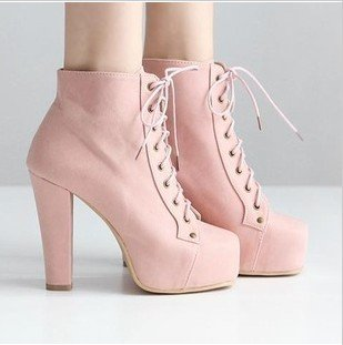Free Shipping New Arrivals Lace Up Thick High Heel Platform Ankle Boots Office Lady's Short Fashion Boots Yellow Pink Retail-in Boots from Shoes on Aliexpress.com