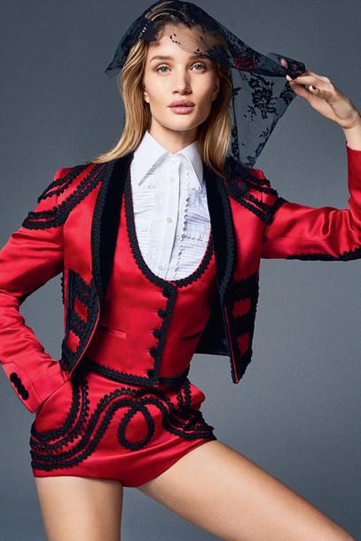 shorts shirt rosie huntington-whiteley fashion red blouse