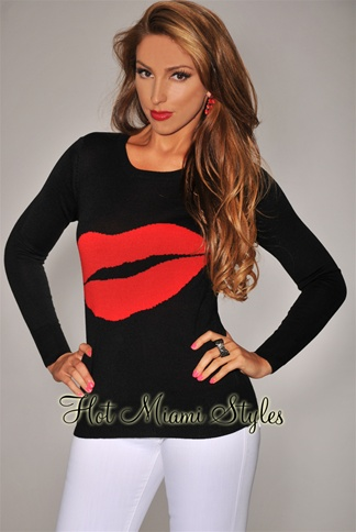 Black Red Lip Knit Sweater Top