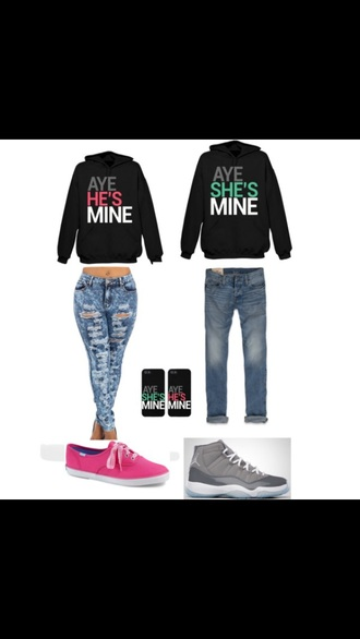 jacket sweater couple sweaters his and hers shirts black pink green shirt jordans shoes vans toms jeans ripped jeans boyfriend boyfriend jeans phone cover