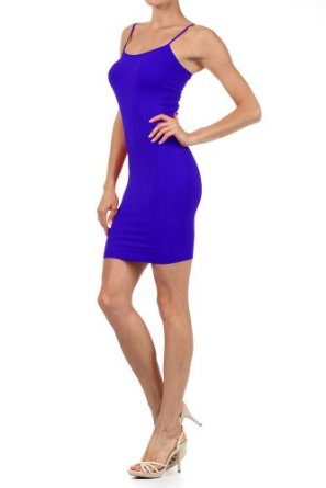 Amazon.com: Women Solid Color Seamless Cami Dress with Spaghetti Straps: Clothing