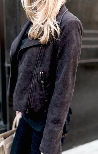 krystal schlegel blogger jacket bag suede jacket black jacket leather jacket skinny jeans