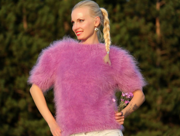 blouse hand knit made mohair sweater crewneck angora alpaca cashmere wool supertanya soft fluffy fluffy