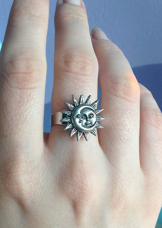 Sun and Moon adjustable ring fits sizes 4.510 by lotusfairy