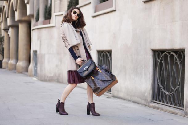 frassy blogger coat scarf sunglasses bag louis vuitton burgundy skirt sweater skirt shoes