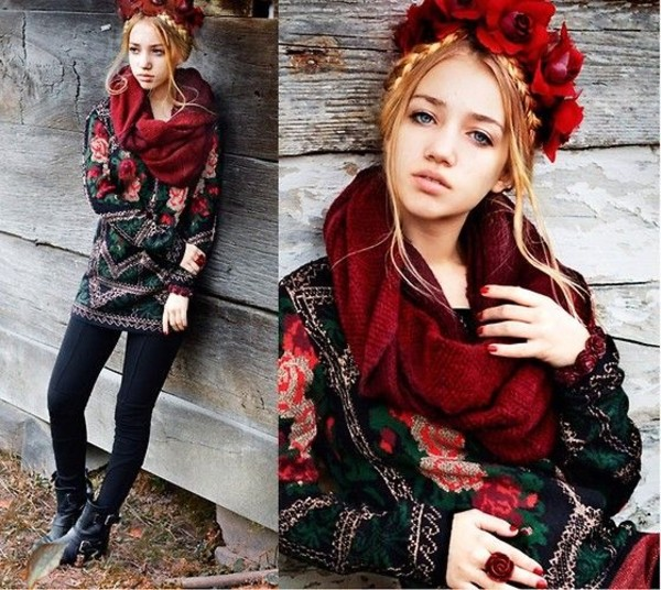 sweater flower crown scarf aksinya air zara boots boots zara shoes ukraine