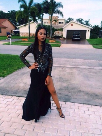dress black blue dark prom prom dress beautiful long dress legs strass paillettes l sexy long dresses long legs