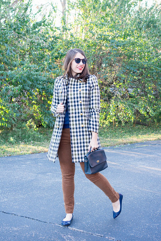 styleontarget blogger sunglasses coat sweater jewels bag pants fall outfits blue bag ballet flats blue sweater