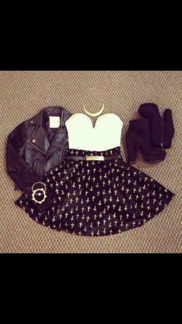 skirt coat shirt jewels shoes belt jacket high heels necklace bracelets dress
