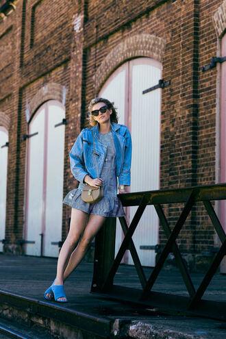 zanita blogger bag mini dress denim jacket