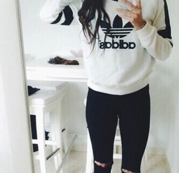 Sweater Shirt Adidas Black Cute White White Sweater