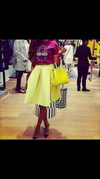 skirt yellow skirt neoprene
