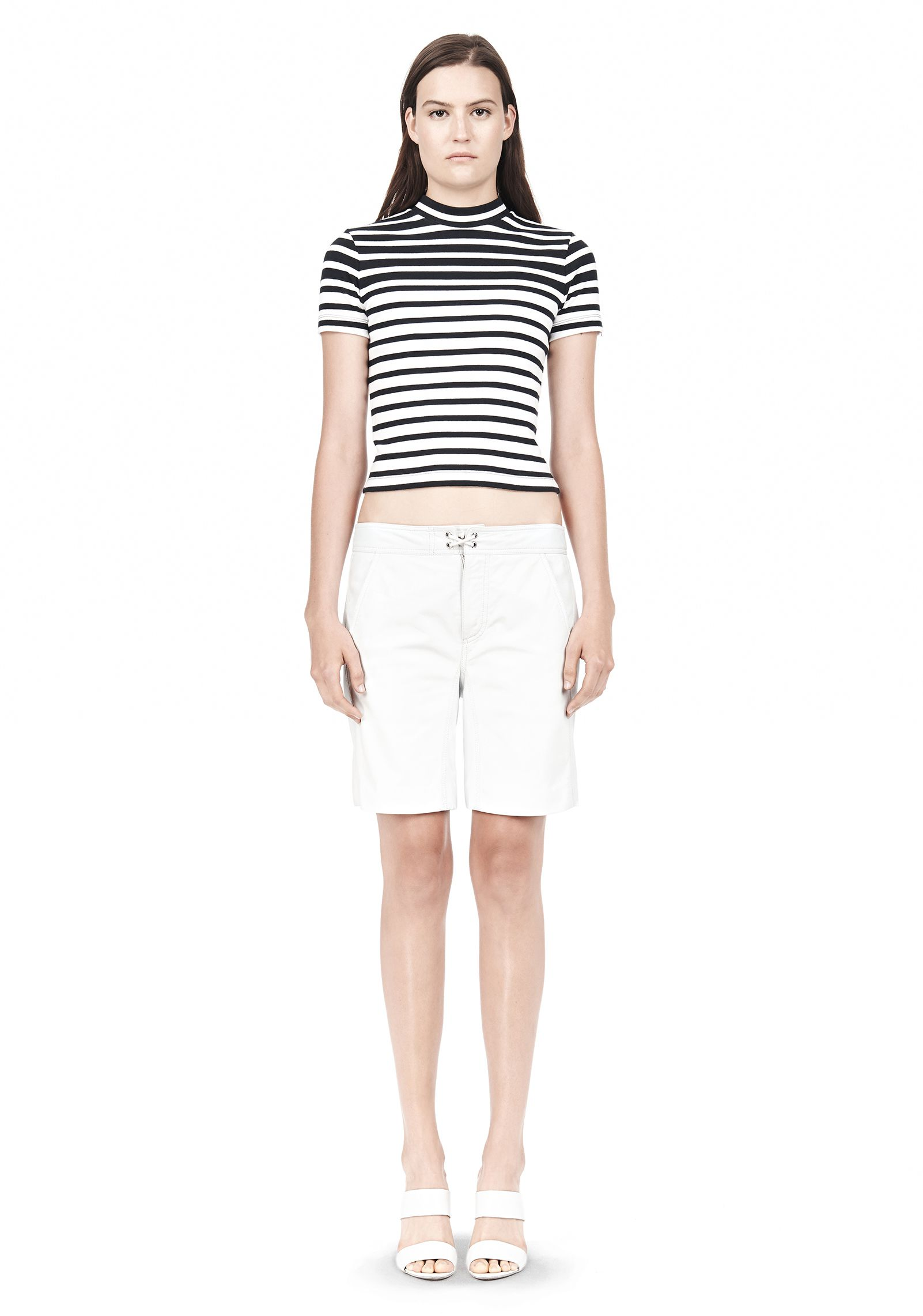 COMPACT COTTON ENGINEERED RIB CROPPED TEE - Crewneck Sweaters Women - Alexander Wang Online Store
