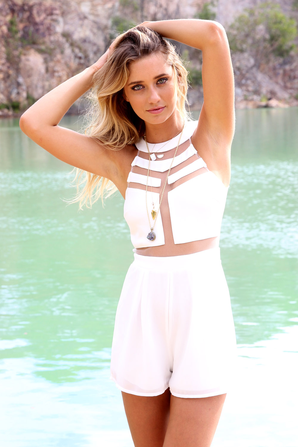 White Jump Suits/Rompers - White High Neckline Playsuit with | UsTrendy