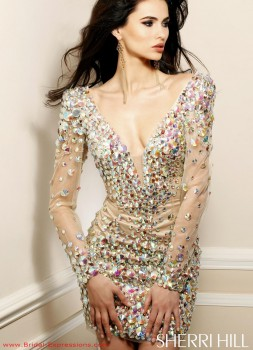 Sherri Hill 2946 Long Sleeve Short Cocktail Dress