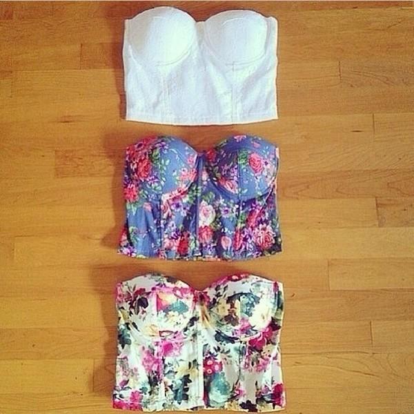 tank top floral corset corset top shirt