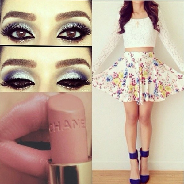 sweater lace skirt white floral skirt mini skirt shoes blue high heels