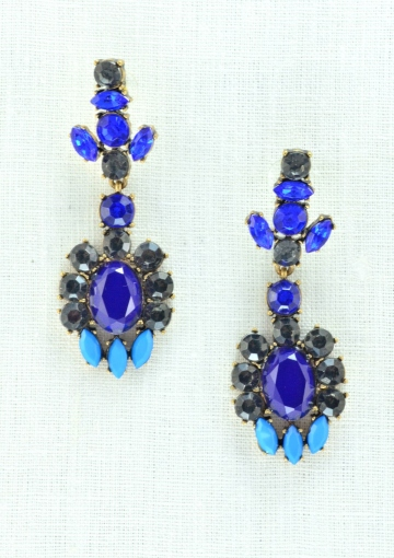 Music Festival Royal Blue Statement Earrings - Happiness Boutique