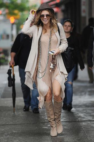 annalynne mccord brown dress white dress dress