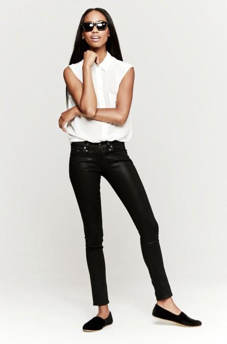 Rag & Bone The Skinny Jeans In Coated Black | The Dreslyn