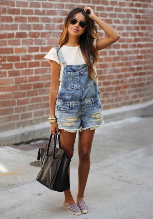 white top black bag jeans overalls denim overalls white jumpsuit romper