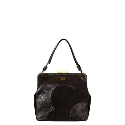 Orla Kiely | UK | Bags | Mainline Bags | Black Sparkle Leather Holly Bag (13ABBSP019) | Black