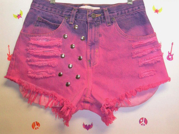 High Waisted HOT Pink Hand Dyed Studded  от GypsysTreasureCove