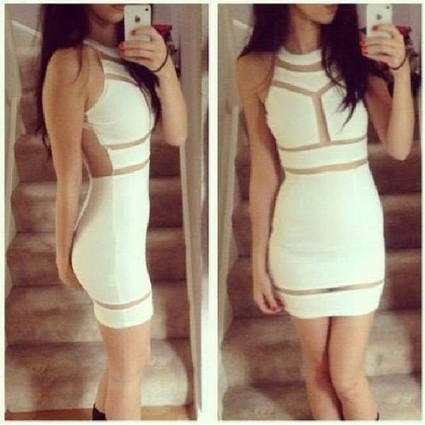 dress white dress white bodycon bodycon dress white cut out dress little white dress cut-out