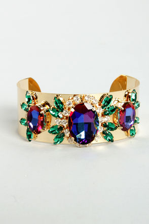 Pretty Gold Bracelet - Rhinestone Bracelet - Cuff Bracelet - $13.00