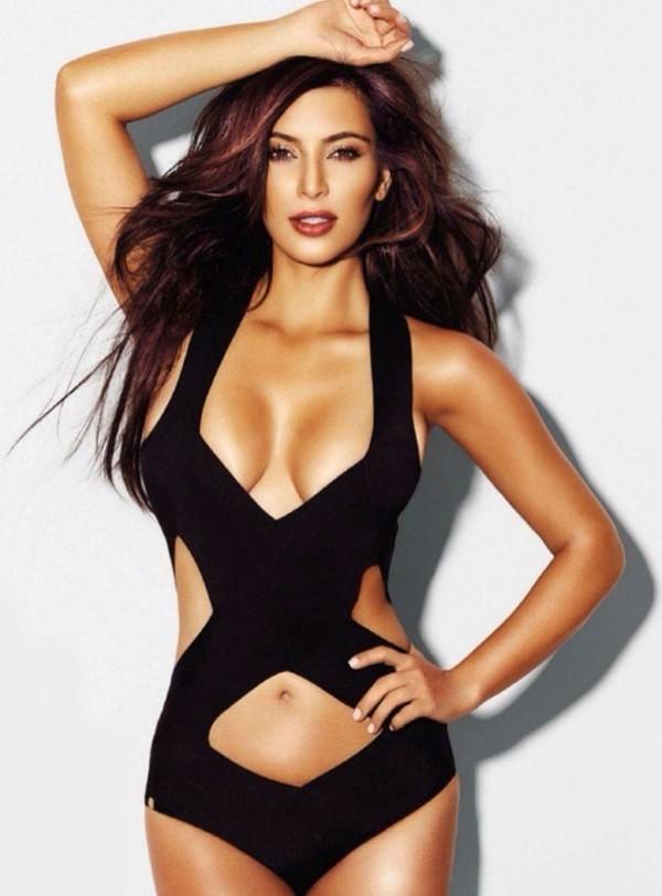 swimwear kim kardashian one piece swimsuit black sexy black swimwear herve leger