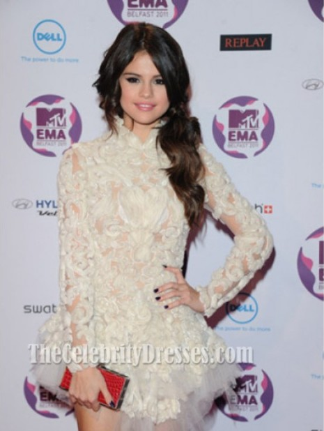 Selena Gomez Mini White Lace Dress 2012 MTV EMA Gowns Celebrity Dresses-in Celebrity-Inspired Dresses from Apparel & Accessories on Aliexpress.com