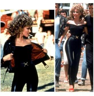 jeans belt pants leather shirt sandy grease mexico beauty' fashion stud black off the shoulder blouse
