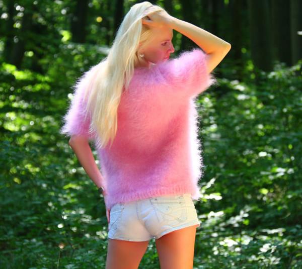 blouse hand knit made mohair sweater jumper supertanya pink soft fluffy fluffy angora cashmere alpaca wool