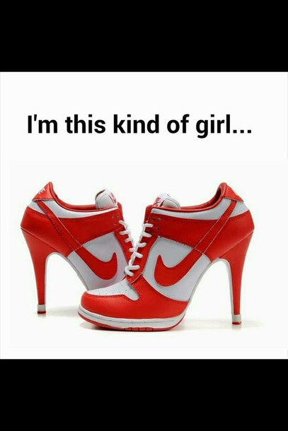 shoes white red nike high heels