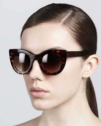 Thierry Lasry Orgasmy Wide Cat-Eye Sunglasses, Dark Havana  - Neiman Marcus