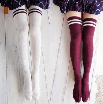 socks burgundy knee high socks stockings white