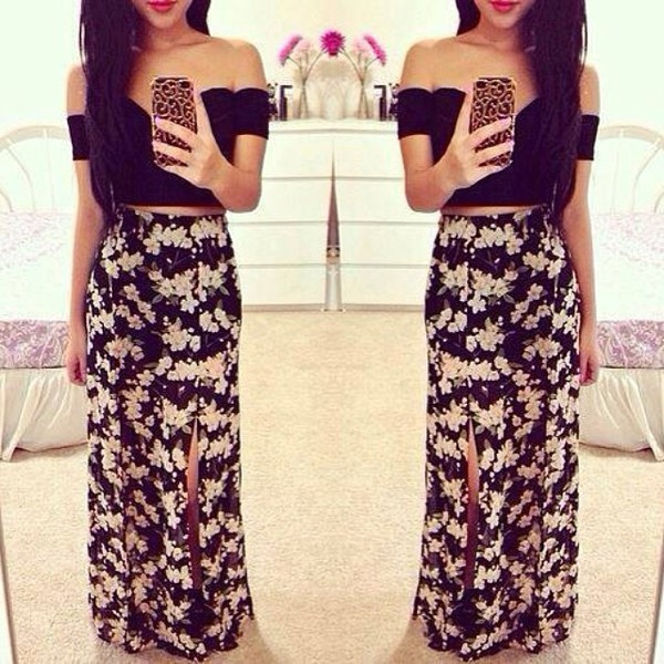 skirt floral iphone 5 case crop tops