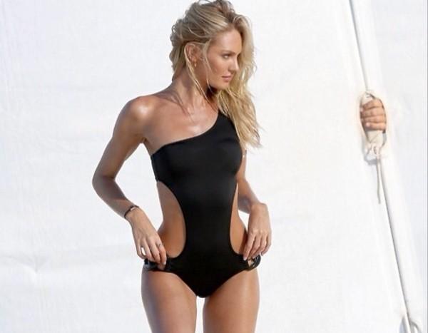 swimwear black cut out classy
