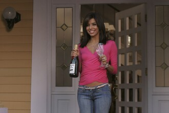 top desperate housewives pink pretty hot eva longoria sexy pink top drape top crossover top v neck draped top