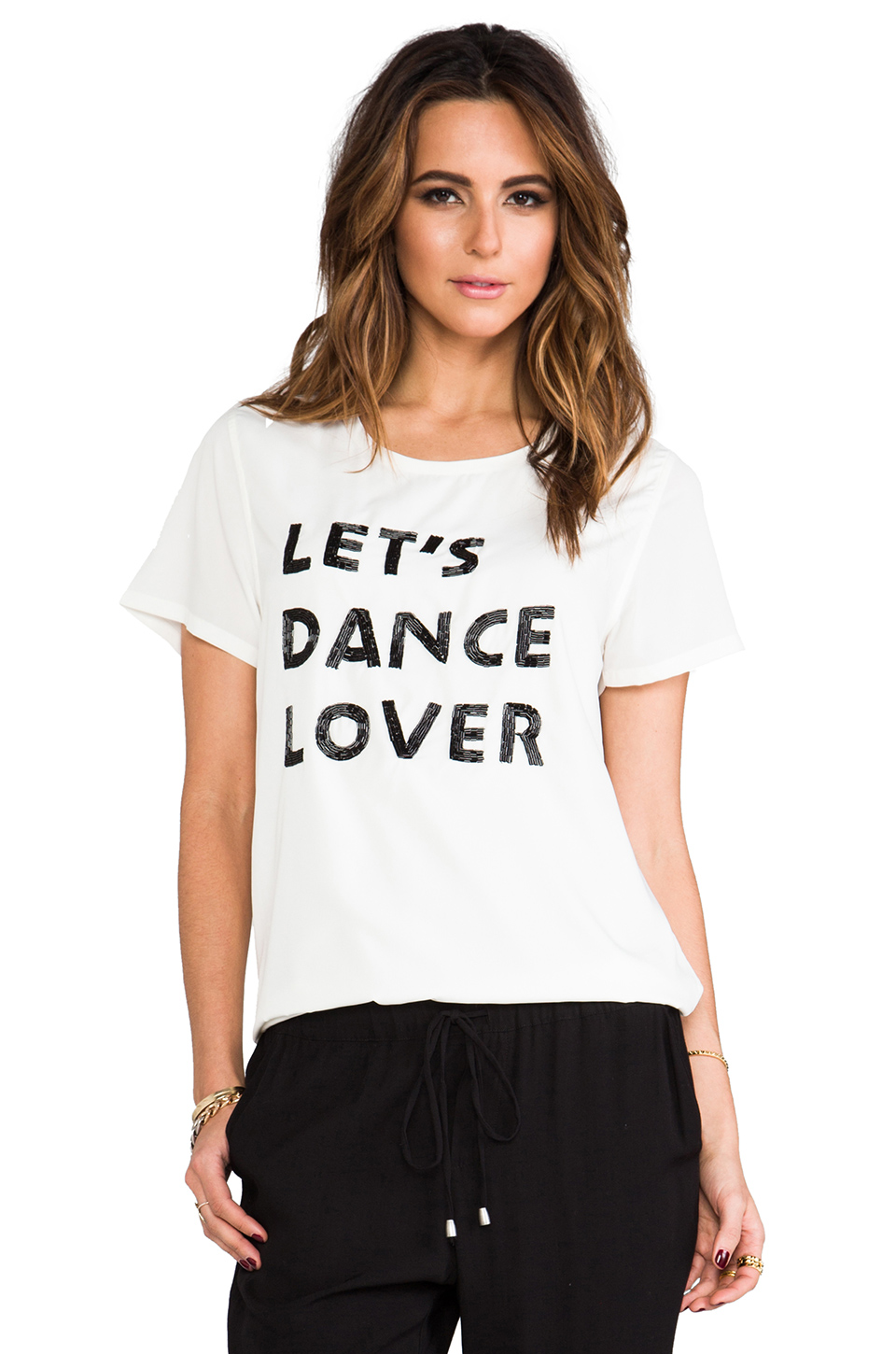 Lovers   Friends Dance Tee with Beaded Detail in Cream | REVOLVE
