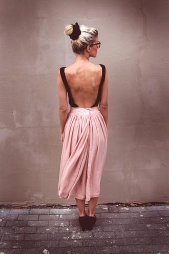 black dress pink dress two tone two tone dress chiffon chiffon dress flowy flowy dress floaty floaty dress midi midi dress backless dress