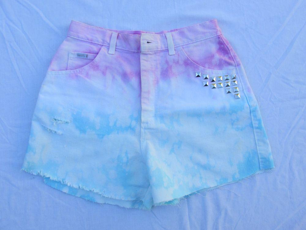 Tie Dye Jean Shorts Pink 12P Levis Studs Retro Hippy Holes Blue White Distressed | eBay