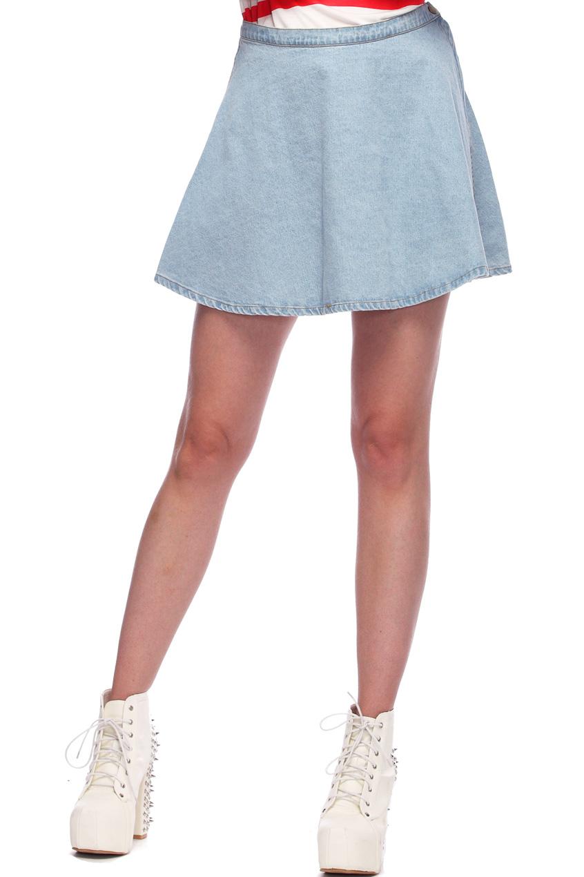 ROMWE | High Waist Light Blue Denim Skirt, The Latest Street Fashion